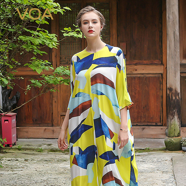 31e19eb6bad9 VOA Plus Size Loose 5XL Silk Casual Yellow Jumpsuit Half Sleeve Leisure  Print Women Wide Leg Pants Palazzo Trouser Spring K6269