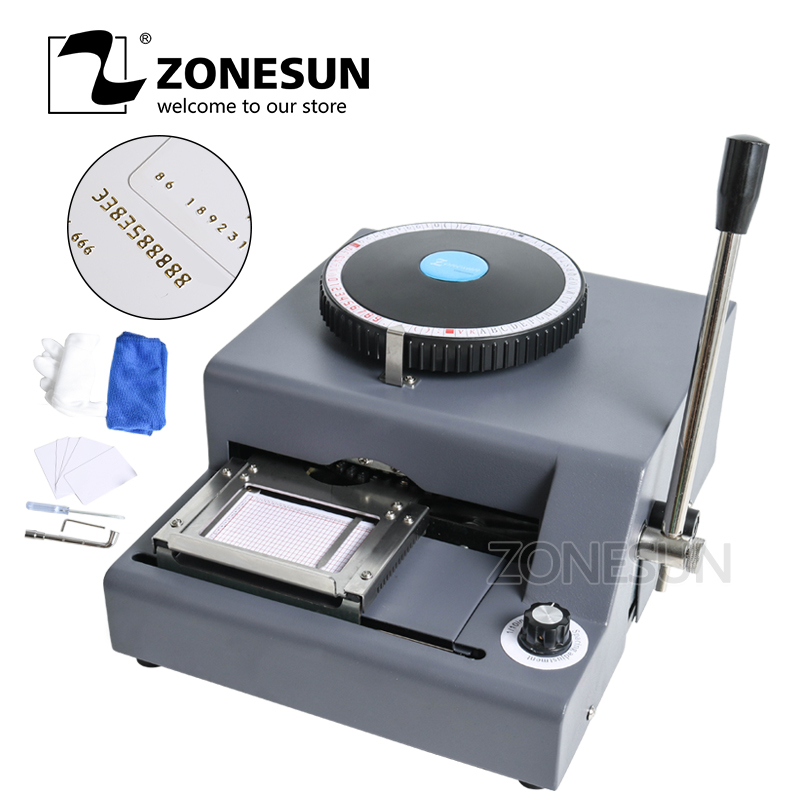 ZONESUN 72 Characters PVC Card Embosser 220V/110V 300W Hot Foil Stamping Bronzing Tipper Machine Combo