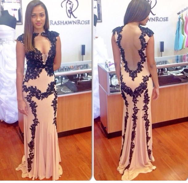 1cd55daef2 Sexy Black Lace Mermaid Prom Dresses 2017 Deep V Neckline Long Prom Dress  Sheer Back Formal