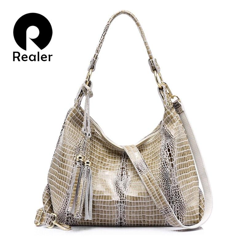 Realer femmes sacs à main en cuir véritable nouvelle arrivée grand sac à bandoulière femme crocodile motif hobos sac avec gland