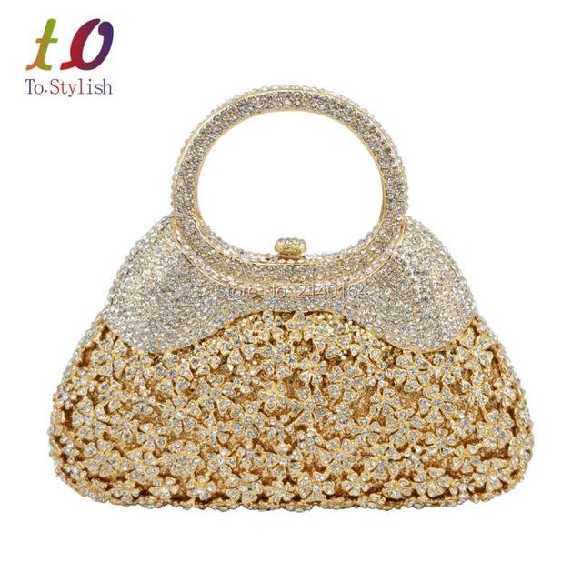 eb723fec5527d Stylish Gold Evening Bag Luxury Crystal Women Clutch Bag with Handle formal  Rhinestone banquet bag with chain 88343