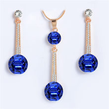 ZOSHI Royal Blue Austria Crystals Drop Earrings and Pendant Necklace Jewelry Sets For Women Wedding Bridal Golden Plated Jewelry(China)