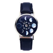 2017 NEW Women watches Lunar Eclipse Pattern Leather Analog Quartz Wrist watch females guys watch bayan kol saati relogio
