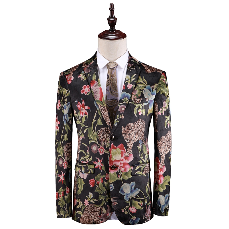 Super Quality Flower Printed Prom Suit Jacket Mens Blazer 2019 Spring Slim Fit Blazer Mascculino Blazer Male 12#35D50