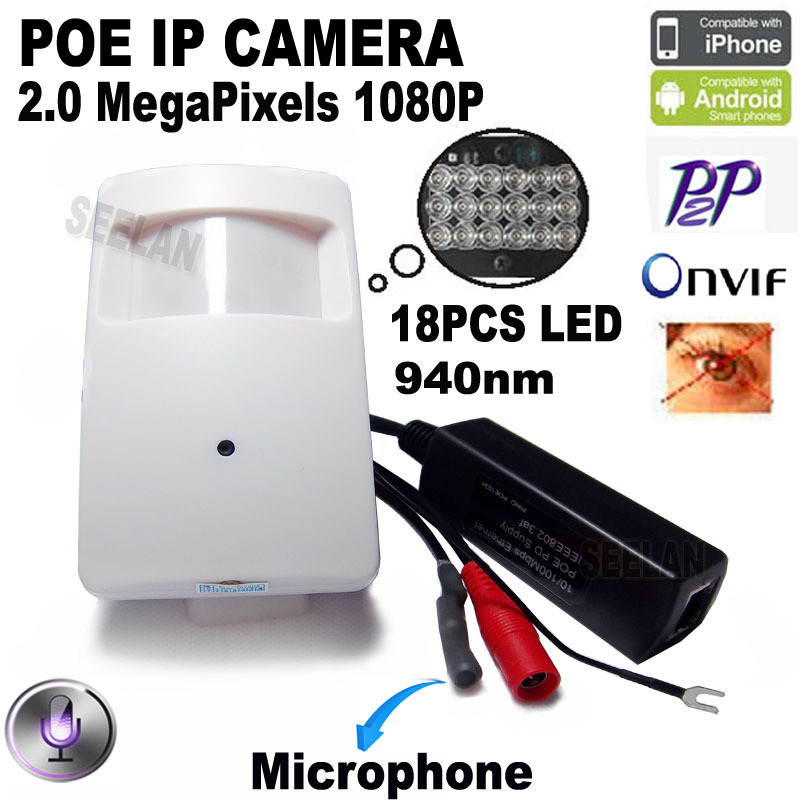 imágenes para 1080 P poe mini cámara ip hd cámara de visión nocturna 940nm Pir motion detector pir estilo kamera ip cam oculta pir cámara ip xmeye