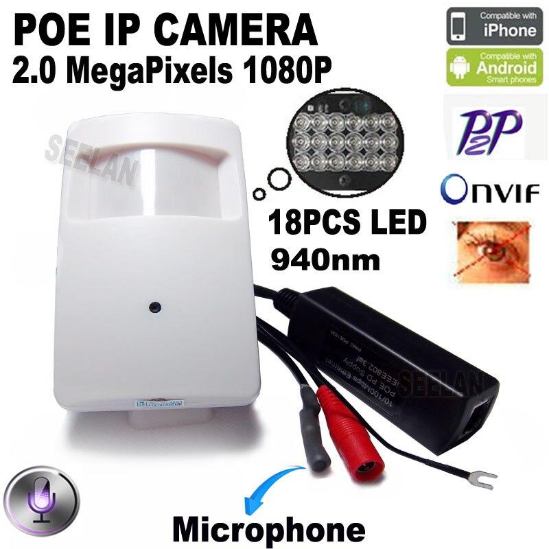 ФОТО 1080P poe mini ip camera hd night vision camera 940nm Pir Motion Detector Kamera Pir Style Ip Cam Covert PIR IP Camera  xmeye