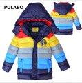 Nuevo 2016 del bebé del Invierno niños Abrigos Niños Outwear Invierno Cálido color de Rayas Abajo Chaqueta Caliente, muchachas de Los Bebés de Moda ropa de abrigo