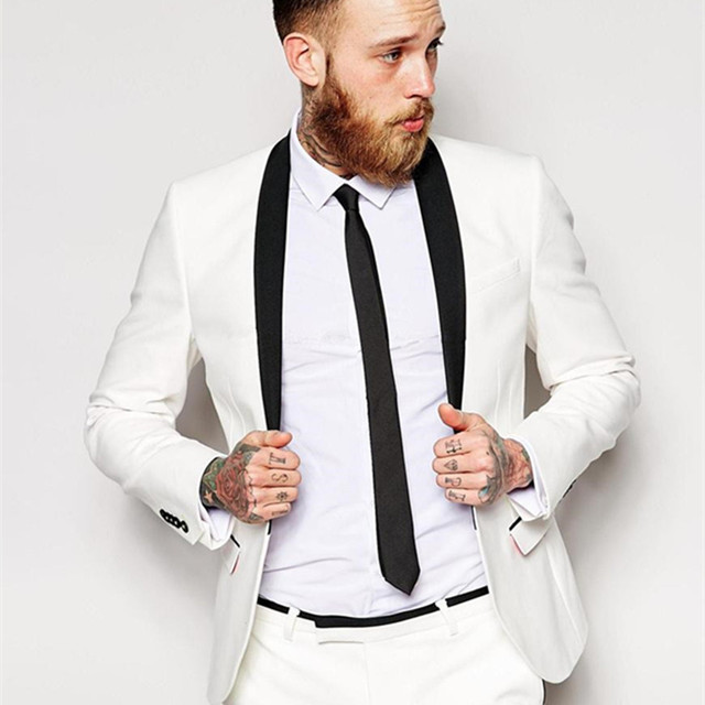 2018 White Tuxedo Suits with Black Shawl Lapel Wedding Groom Suits ...