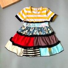 Cotton Baby Girls dress Summer floral Flower  Infants and  toddler Kids ruffled dresses for kids cute princess dress striped