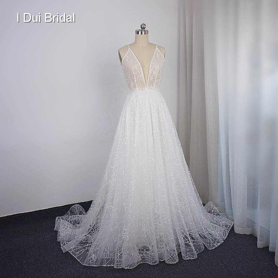 Sparkle Tulle Plunge Neckline Wedding Dress A Line Low Back Shinny Sequins Bridal Gown New Style