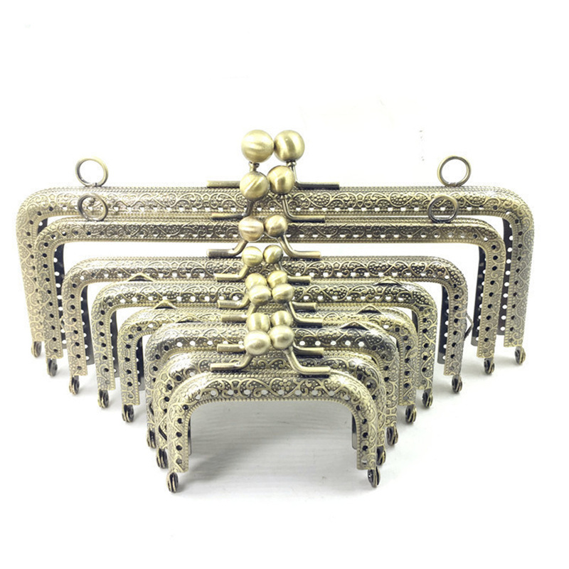 10Pcs Bronze Tone Flowers Convex Rectangle Metal Frame Kiss Clasp Lock Clutch Coins Purse Handbag Handle Part fggs 1pc metal purse bag frame kiss clasp lock silver tone size 16 5x9 5cm