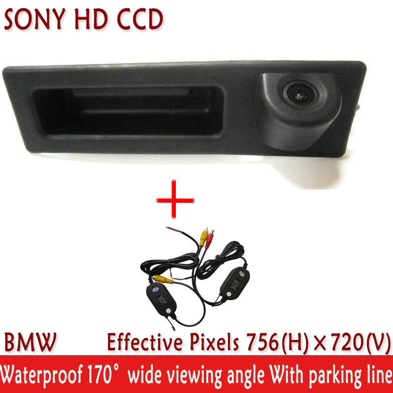 WIFI camera 2.4 GHz wireless Car Accessories handle HD SONY CCD Car Rear View Reverse Camera for VW BMW F10 F11 F25 F30 BMW 5 image