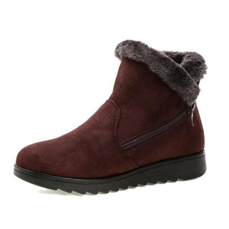 752fe2251c01 2018 Women Warm Ankle Boots Faux Fur Winter Womens Zipper Anti Slip Ankle Bootie  Warm Fur