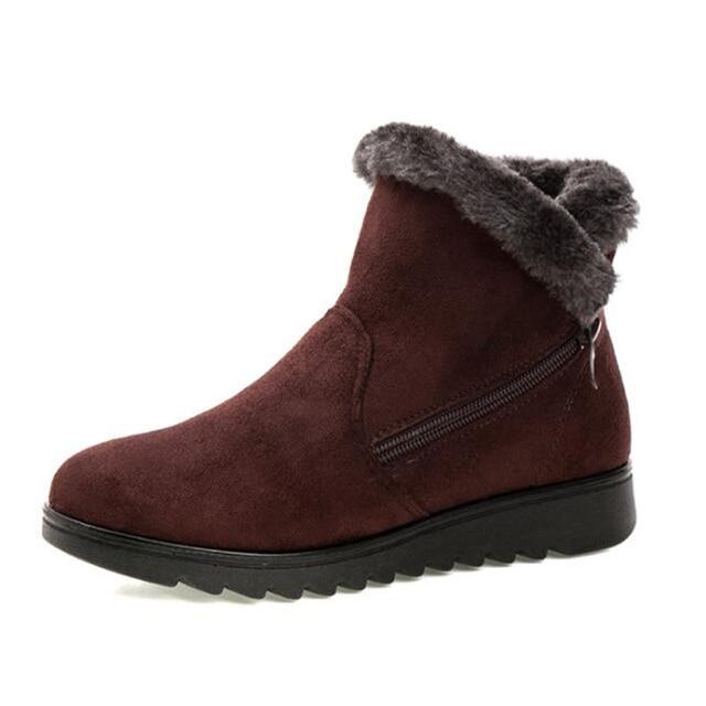 2019 Kadın Sıcak yarım çizmeler Taklit Kürk Kış Bayan Fermuar Anti Kayma Ayak Bileği Bootie Sıcak Kürk Ayakkabı Ayakkabı Booten Kadın Ayakkabı