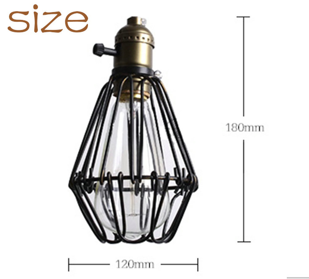 Classic black nordic industrial lampshade cover guard birdcage classic black nordic industrial lampshade cover guard birdcage vintage pendant lights metal iron wire lamp cage lampshade light in pendant lights from greentooth Gallery