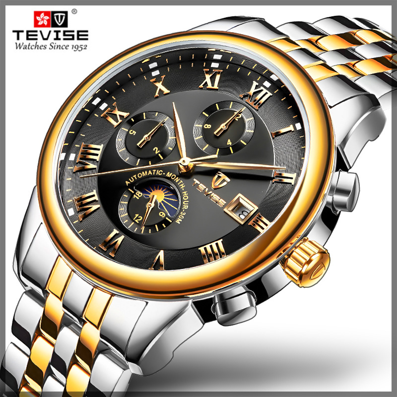 TEVISE 2019 business watch men Automatic calendar clock men Moon Phase waterproof Mechanical watch top brand relogio masculinoTEVISE 2019 business watch men Automatic calendar clock men Moon Phase waterproof Mechanical watch top brand relogio masculino