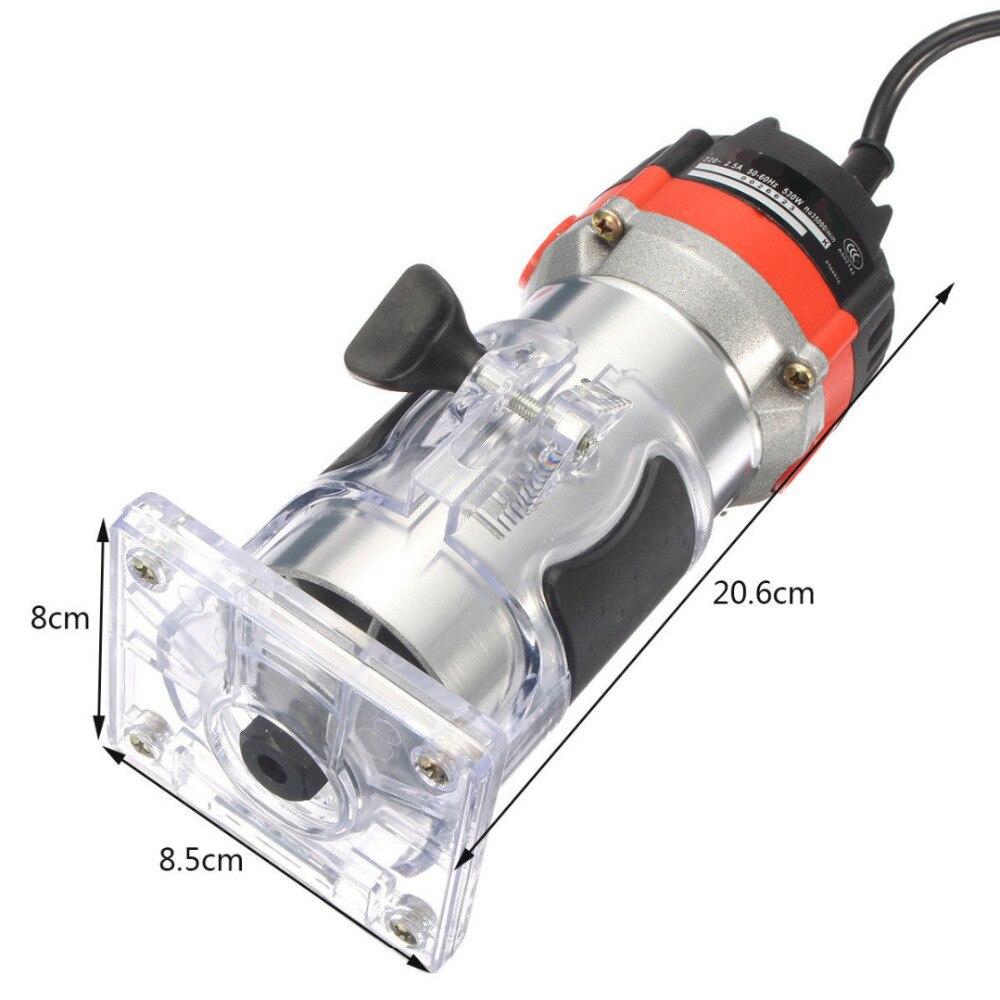 220V 530W tondeuse à main électrique bois routeur tondeuse 1/4 ''tondeuse électrique bord de bois routeur outils bricolage coupe rainurage forage
