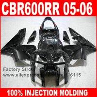 Custom free Injection Molding parts for HONDA 2005 2006 CBR 600RR 05 06 CBR600RR fairings full glossy black body fairing kits