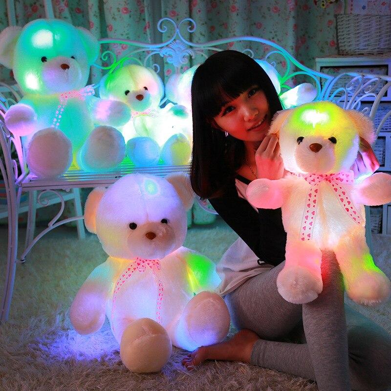 70 см красочные подсветкой нести свет милые плюшевые Игрушечные лошадки Glow плюшевые куклы Пледы Подушки Детские светодиодные медведь игруш…