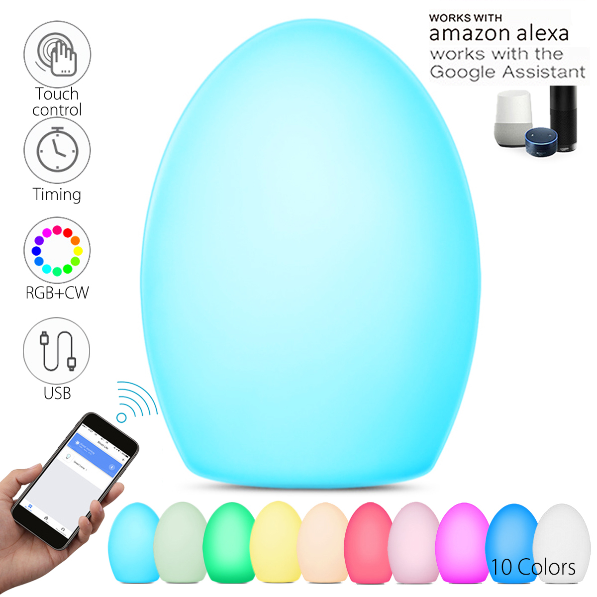 Smuxi LED Night Light WIFI Smart Table Desk Touch Control Night lamp Lighting For Alexa GOOGLE HOME 10 Colors Changing