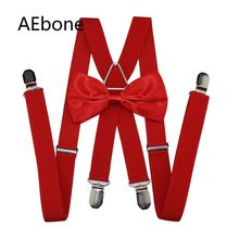 AEbone Red Suspenders and Bow Tie for Women Men X-sharp with 4 Clip Man Bowtie Suspender Pants 110cm Sus54
