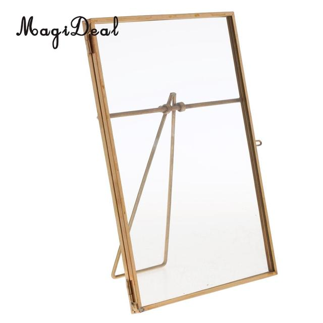 vintage metal glass freestanding photo display picture frame