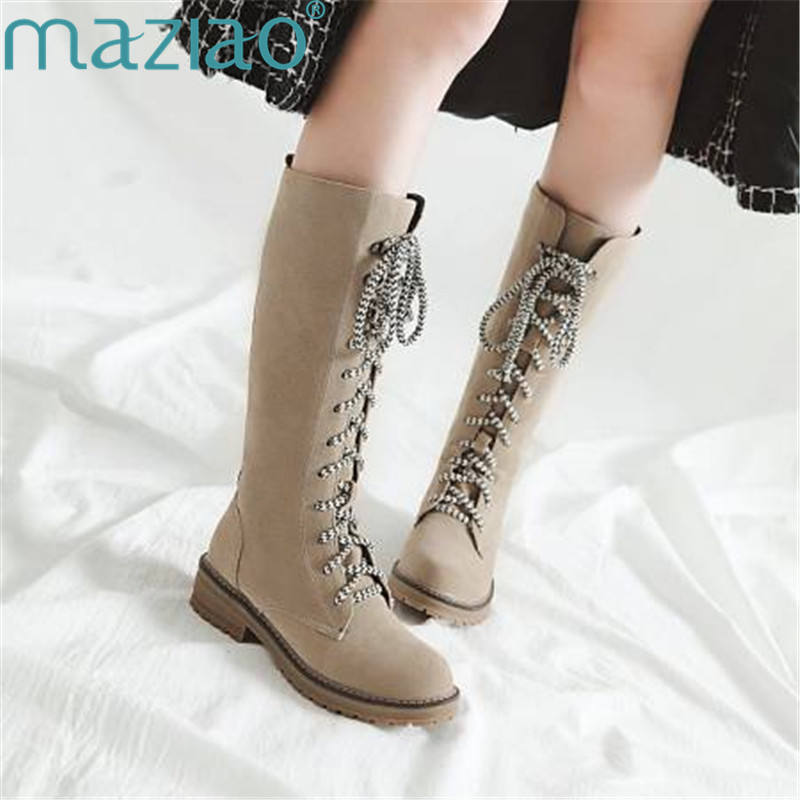 Winter Boots Low Heel Round Head Cross strap Thick Heel Suede Shoes Warm Snow Boots Women Waterproof Shoes MAZIAO
