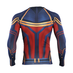 Image 3 - Captain Marvel 2019 New 3D Compression Shirt Printed shirts Men Compression Shirt Cosplay Quick drying clothes For Gyms T Shirts