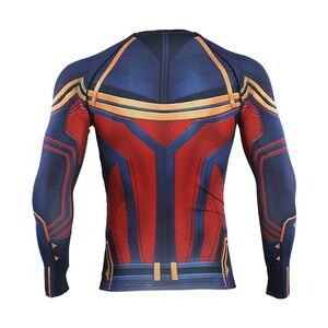 Image 3 - Captain Marvel 2019 nowa koszulka kompresyjna 3D koszulki z nadrukiem męska koszulka kompresyjna Cosplay szybkie suszenie ubrań dla siłowni t shirty