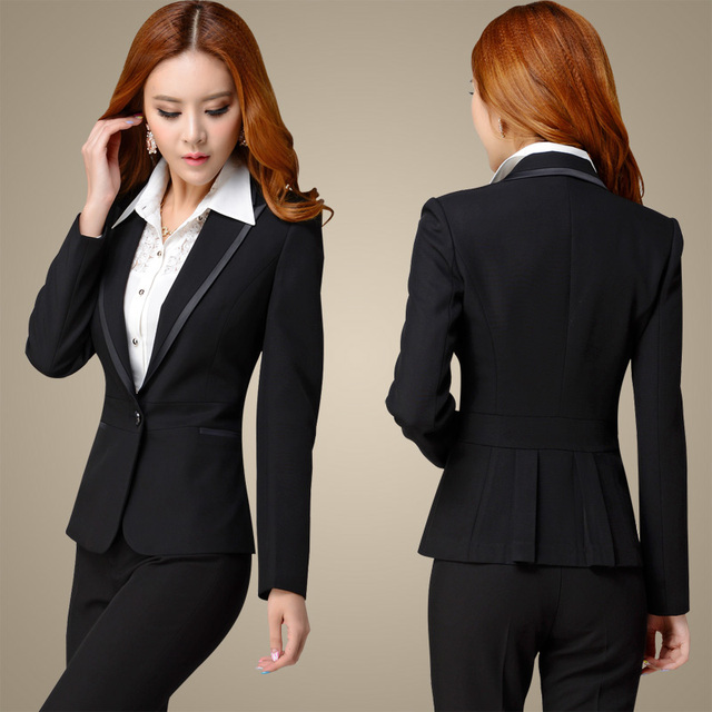2016 NEW slim work wear women's business suit sets formal fashion long-sleeve suit pants plus size ladies office blazer Trousers