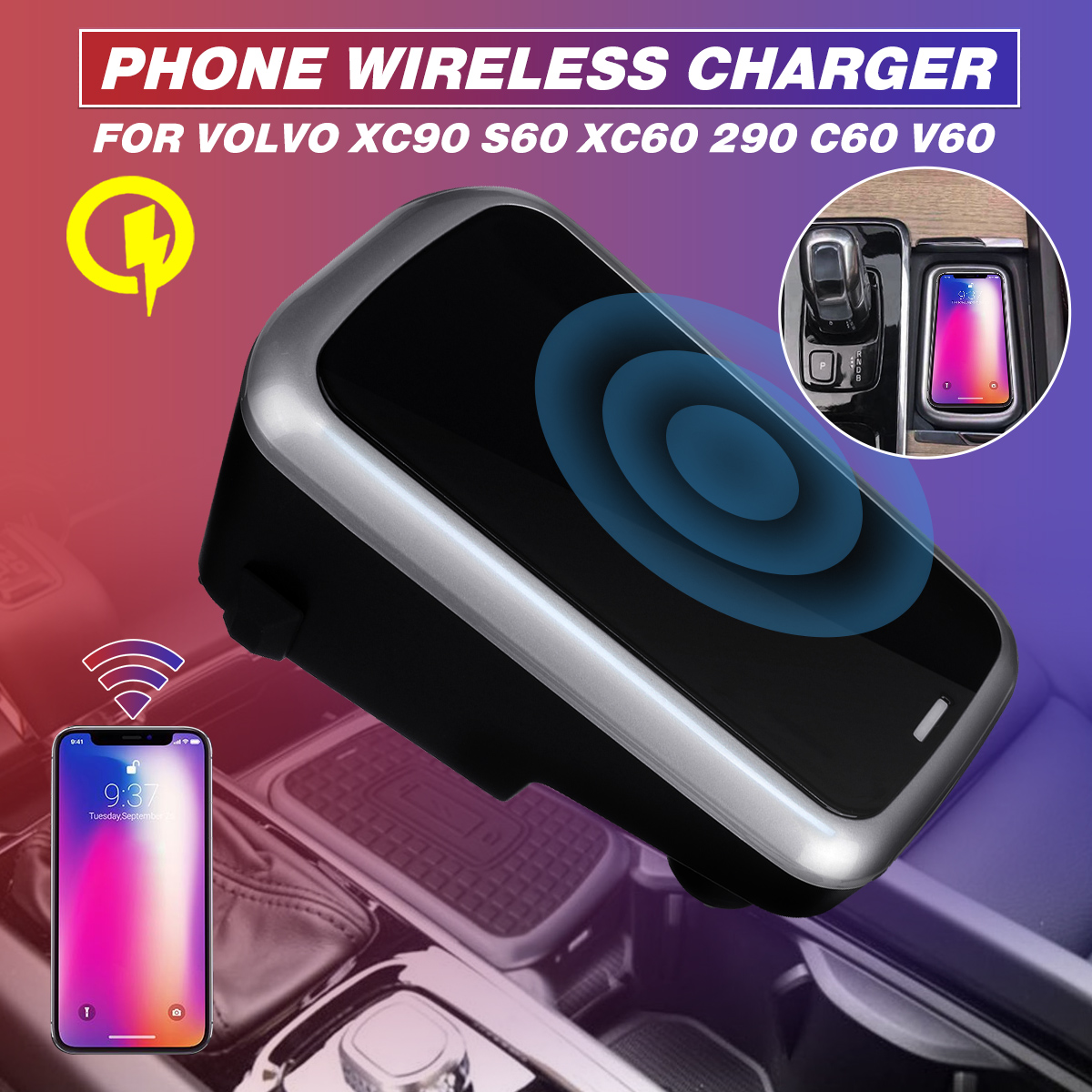 Car Accessories Car Phone Charging Qi Wireless Charger For Volvo XC90 S60 XC60 S90 C60 V60 For Samsung Note 9 S9 S8Car Accessories Car Phone Charging Qi Wireless Charger For Volvo XC90 S60 XC60 S90 C60 V60 For Samsung Note 9 S9 S8