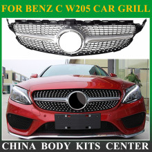 New C Class W205 Diamond Grille ABS Material For Mercedes C180 C200 C250 C350 C400 C450 C220 Sporty 2015 2016 Front Grill