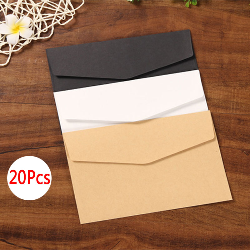 Delvtch 20pcs/Set Black White Craft Paper Envelopes Vintage Retro Style Envelope For Office School Card Scrapbooking Gift