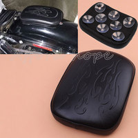 Motorcycle Rear Fender Solo Seat Cover Leather Pillion Pad Flame Seat Pillion Pad 8 Suction Cup Protect for Harley Cafe Racer