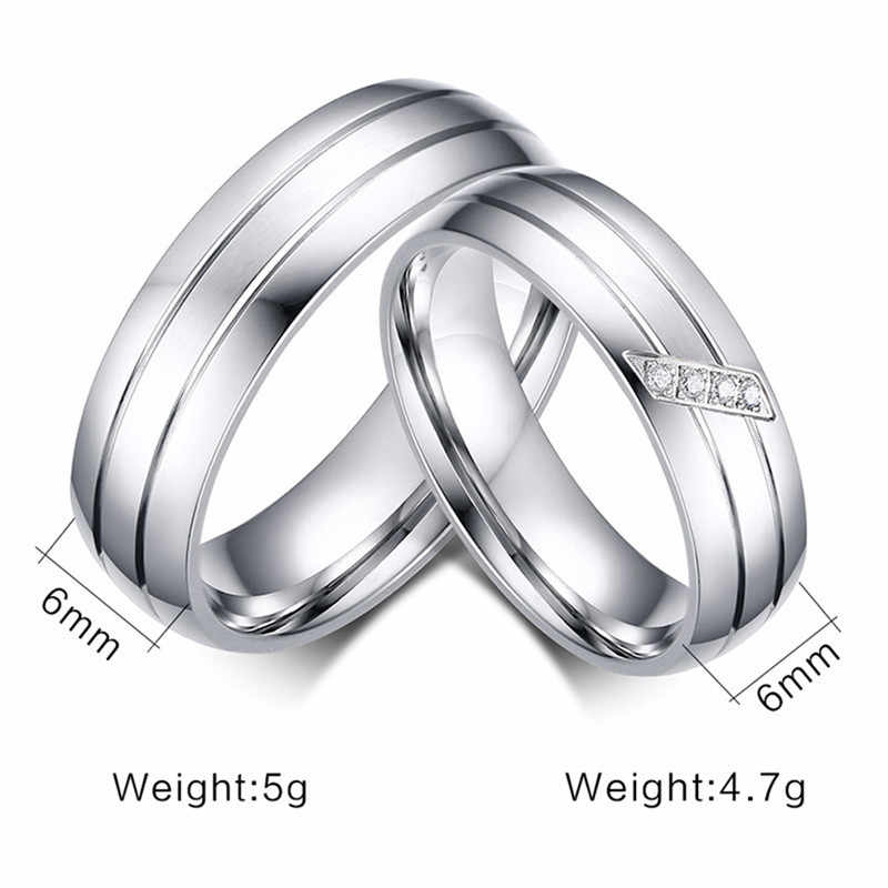 Romad Silver Color Titanium Steel Couples Wedding Engagement Ring CZ Stone Bijoux Finish Size 5 to 13 Zircon Wedding Ring Z3