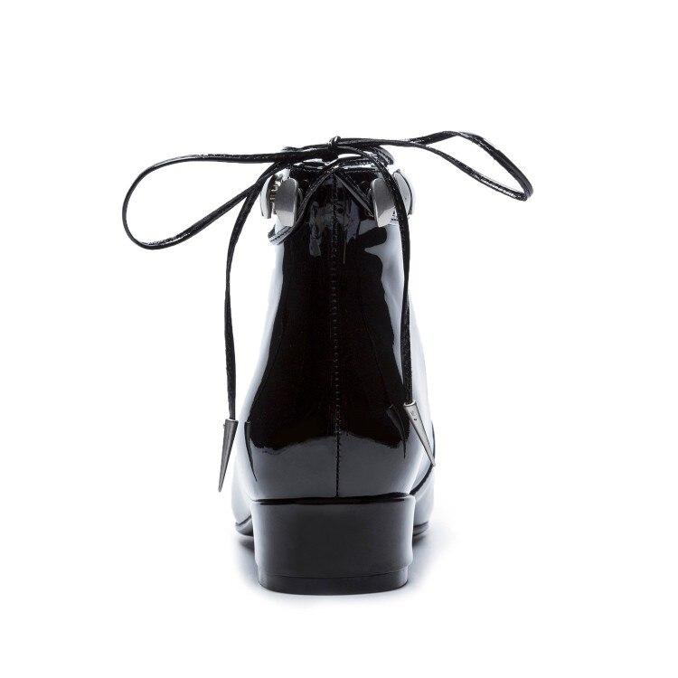 Automne Printemps En Faible Carré Dentelle 1 Talon 2 Couleur Cuir black Bottes Vache Bout 2019 Cheville Black De Femmes Noir Up Martin twFO66