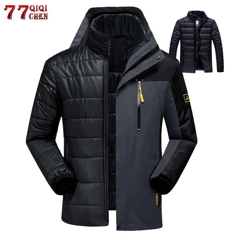 2019 Winter Thermal Jacket Men Waterproof Thick Warm 2 in 1   Parkas   Patchwork Windproof Hooded Downs Coats Outwear Plus Size 6XL