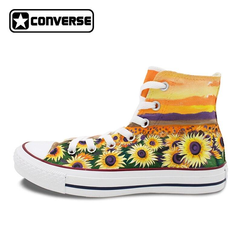 d0338799d3e3 Woman Man Converse All Star Custom Sunflower Flower Hand Painted Shoes High  Men Women s Sneakers Skateboarding Shoes Gifts