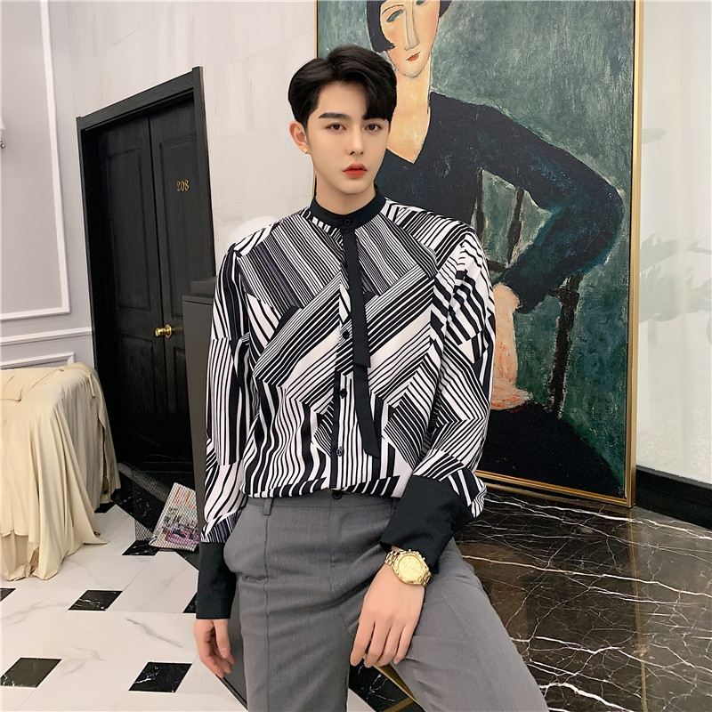 Men Fashion Black White Striped Bow Tie Business Casual Long Sleeve Shirt Male Streetwear Hip Hop Party Dress Shirts