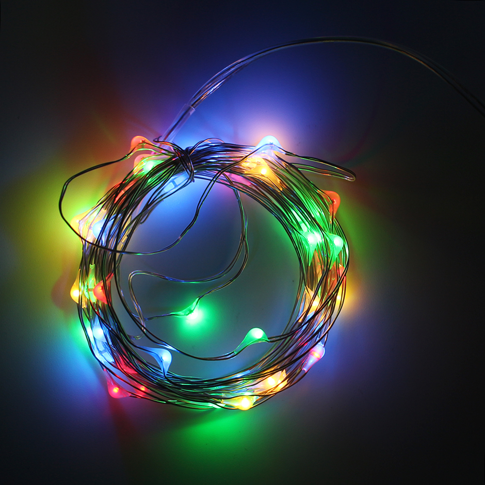 5M 50 LEDs Fairy Lights Copper Wire AA Battery Powered String Decorative Lights for Christmas Holiday Wedding Halloween Parties