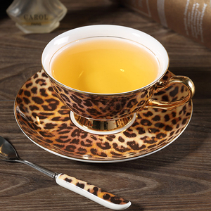 Image 3 - Europe Classic Leopard Print Bone China coffee cups and saucers coffee cup dish set Hand painted Golden rim Home Party tea cup