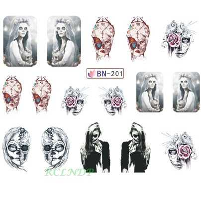 น้ำสติกเกอร์สำหรับตกแต่งเล็บSlider Princess Skullผีเสื้อดอกไม้Corpseเจ้าสาวDecalออกแบบLacquerอุปกรณ์เสริม
