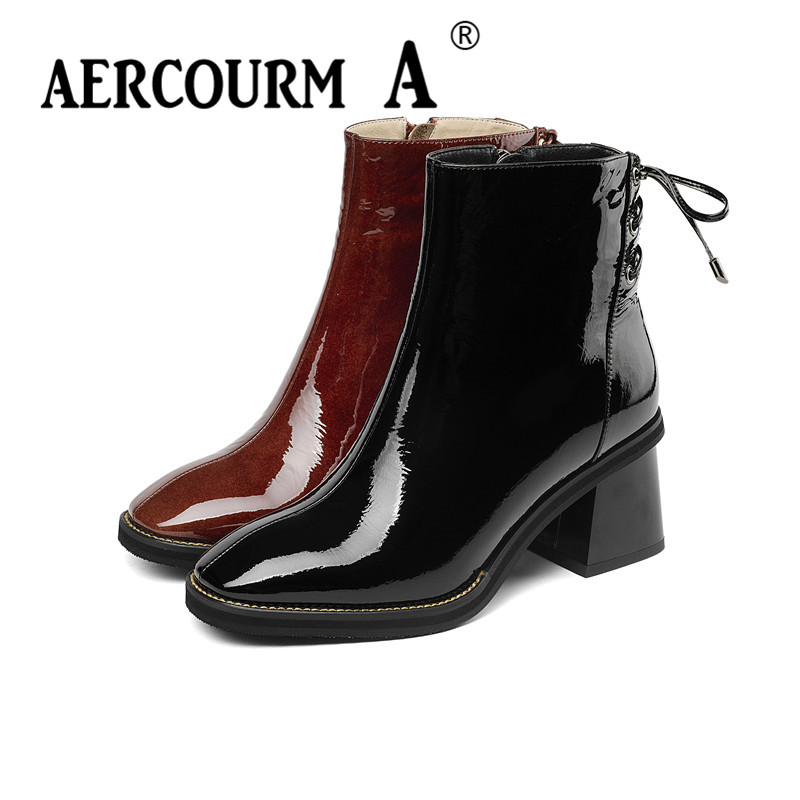 Aercourm A 2019 Winter Women High Heel Ankle Boots Black Red Patent Leather Shoes Short Plush Boots Lace Boots Push Size 34-43 women sexy high heel ankle boots with lock lace up patent leather boots autumn short boots wedding shoes women botas size 36 46