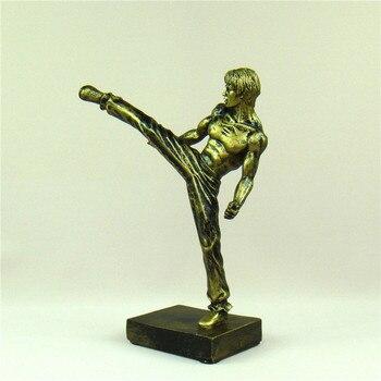Bruce Lee Miniature Chinese Kung Fu Figure Kicking Sculpture Nunchaku Ornament Movie Star Souvenir Present Craft Art Collection 3