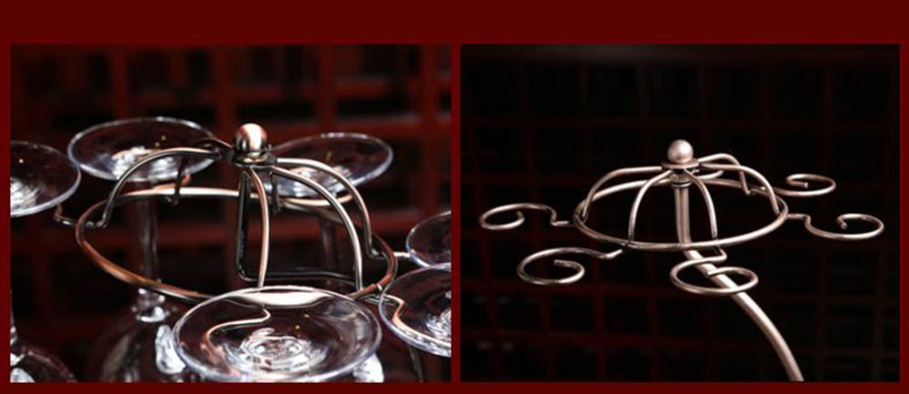 Decorative Racks Wine Bottle Holder Hanging Upside Down Cup Goblets Display Rack Iron Wine Stand Arts Design KC1283 (8)