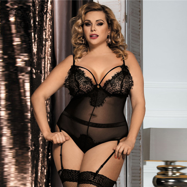 Rl80266 Comeonlover New Black Sexy Lace Teddy Lingerie