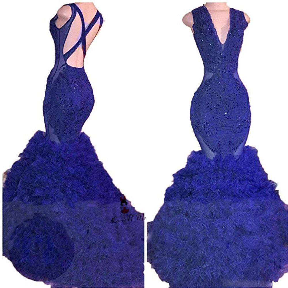 US $15.15 15% OFFSexy Backless Tiefem V ausschnitt Royal Blue  Abendkleider Lange rüschen Spitze Perlen Frauen Prom Kleider Bordeaux  Schwarz Robe de