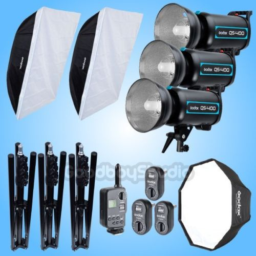 Godox 3X QS-400 1200W Studio Flash Strobe + 185cm Light Stand + 120cm & 80 x 120cm Softbox Bowens Mount + FT-16 Trigger Kit