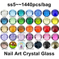 Super Shiny 1440PCS SS5 (1.7-1.9mm) Glitter Non Hotfix Crystal Multi Colors 3D Nail Art Decorations Flatback Rhinestones