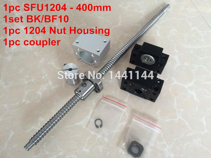 1204 ballscrew  set : SFU1204 - 400mm Ball screw -C7 + 1204 Nut Housing + BK/BF10  Support  + 6.35*8mm coupler